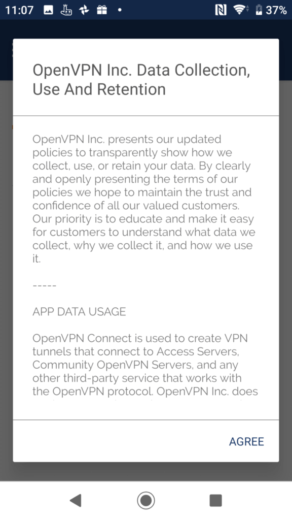 OpenVPN Connect 使用許諾